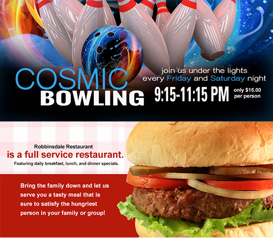 Click Big Deals - Cosmic Bowling for up to 4 people and a bucket of beer or pitcher of soda at Robbinsdale Lanes, including shoes, a $80 value for just $40!