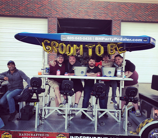 Reserve the Black Hills Party Pedaler this Spring for you and 10 of your friends including a free round of drinks for only $162.50!! Value of $325!