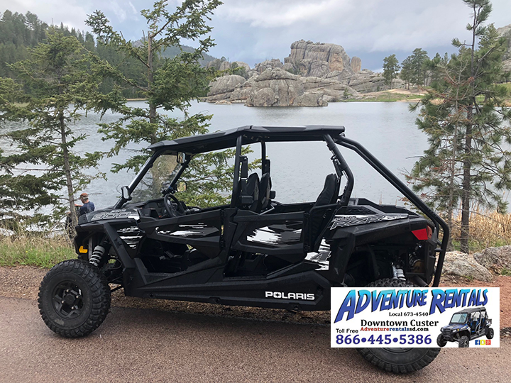 Click Big Deals - Adventure Rentals- Rent a 4 seater UTV for a half day for 50% OFF! JUST $150 at Custer or new Hill City location!